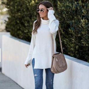 Ivory Ribbed Turtleneck Sweater